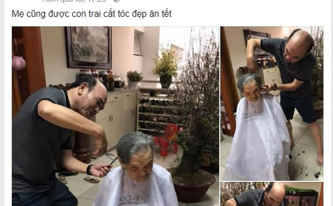 Xúc động hình ảnh người con cắt tóc cho mẹ già 95 tuổi ngày Tết