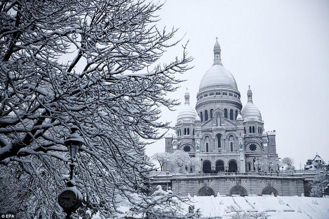 Chỉ sau một đêm, tuyết nhấn chìm Paris vào một màu trắng mộng mơ dày tới gần 18cm khiến nhiều người ngỡ ngàng 1
