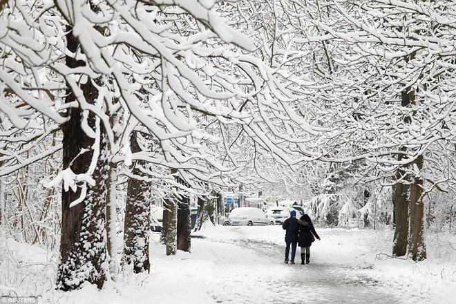 Chỉ sau một đêm, tuyết nhấn chìm Paris vào một màu trắng mộng mơ dày tới gần 18cm khiến nhiều người ngỡ ngàng 13