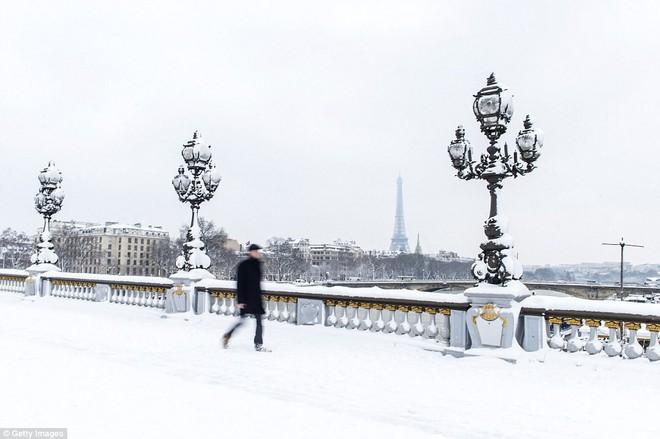 Chỉ sau một đêm, tuyết nhấn chìm Paris vào một màu trắng mộng mơ dày tới gần 18cm khiến nhiều người ngỡ ngàng 6