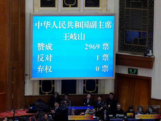 Chỉ 1/2970 phiếu chống, ông Vương Kỳ Sơn trở thành tân Phó Chủ tịch Trung Quốc - Ảnh 1.