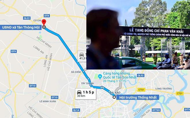 Lộ trình di quan thi hài cố Thủ tướng Phan Văn Khải về quê nhà Củ Chi
