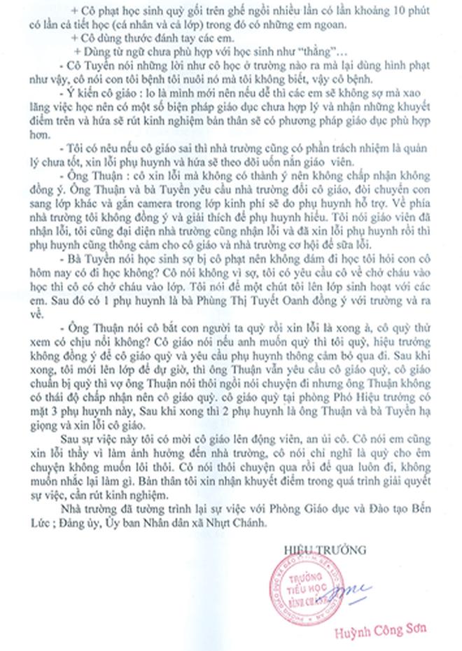 Vụ cô giáo quỳ gối: Hiệu trưởng viết gì trong bản tường trình?   - Ảnh 1.
