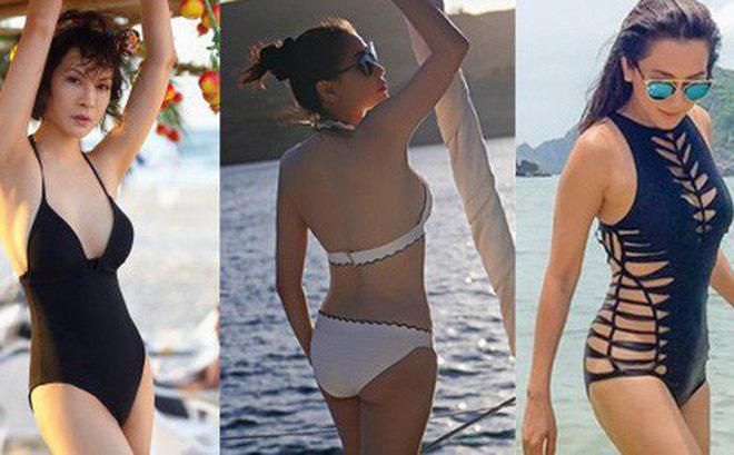 Mỹ nhân Vbiz U40, 50 thả dáng sexy với bikini: Nhìn Hoa hậu Hà Kiều Anh đã sốc, đến MC Kỳ Duyên mới khó tin!