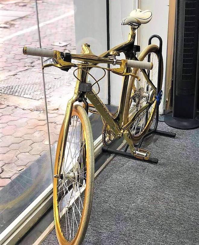 Cận cảnh xe đạp mạ vàng phiên bản giới hạn cực độc, giá 1,2 tỷ đồng tại Hà Nội - Ảnh 3.
