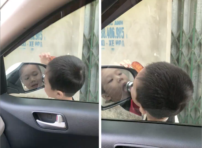 Clip: Cậu bé hồn nhiên đứng ngắm vuốt đầu tóc bằng gương ô tô mà không hay biết tài xế ngồi trong - Ảnh 2.