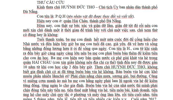 Một học sinh gửi tâm thư tố cáo cán bộ nhũng nhiễu lên Chủ tịch Đà Nẵng - ảnh 2
