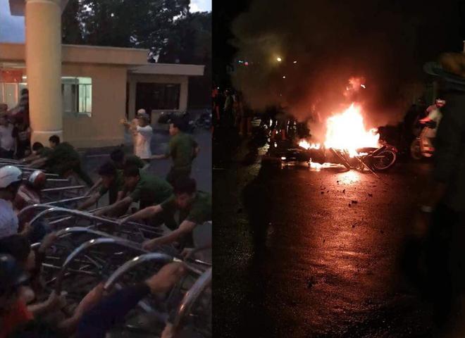 Đám đông quá khích đập phá, đốt xe tại UBND tỉnh Bình Thuận: Nhiều chiến sĩ bị thương - Ảnh 2.