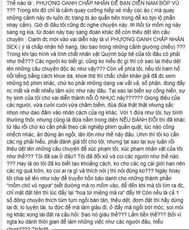 Phương Oanh lên tiếng về tin đồn nhận vai Quỳnh búp bê vì ham sex - Ảnh 2.