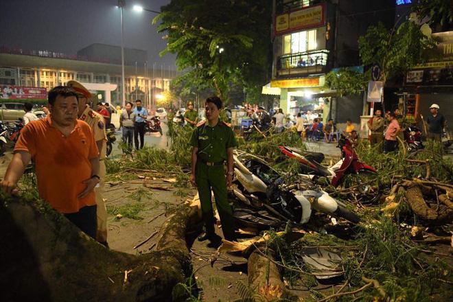 Cây cổ thụ bật gốc đè xe máy trên phố Hà Nội, 5 người bị thương - Ảnh 7.