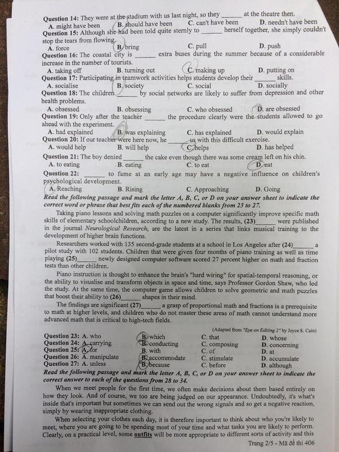 [CẬP NHẬT] Gợi ý đáp án các mã đề thi môn Ngoại ngữ kỳ thi THPT Quốc gia 2018 - Ảnh 2.