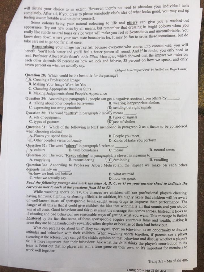 [CẬP NHẬT] Gợi ý đáp án các mã đề thi môn Ngoại ngữ kỳ thi THPT Quốc gia 2018 - Ảnh 3.