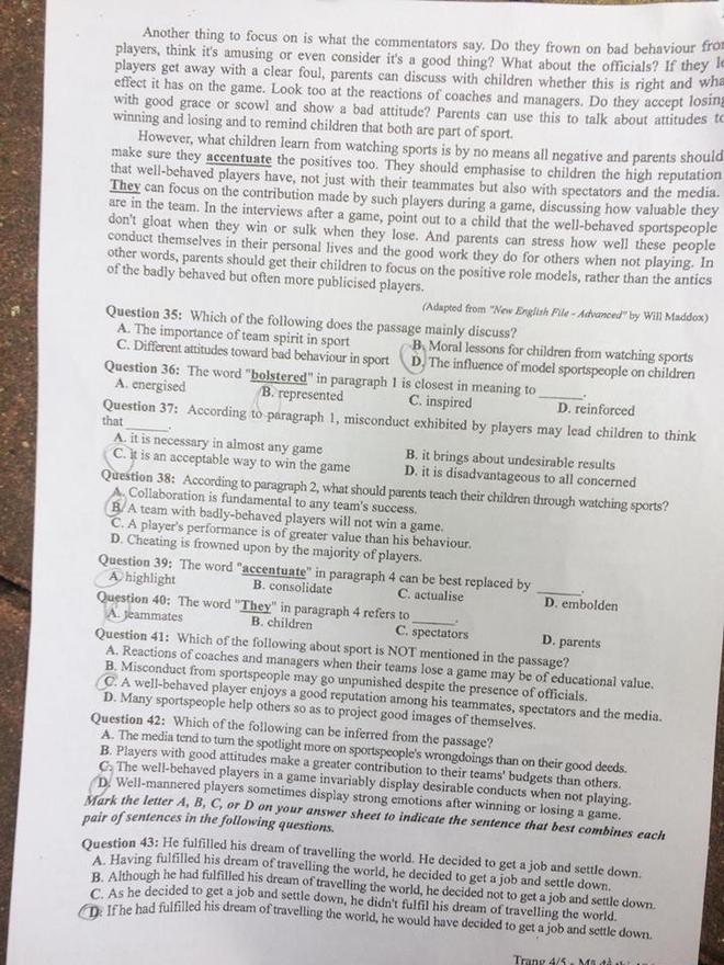[CẬP NHẬT] Gợi ý đáp án các mã đề thi môn Ngoại ngữ kỳ thi THPT Quốc gia 2018 - Ảnh 4.