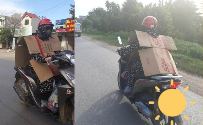 Cô gái đi xe máy bịt kín như Ninja, choàng bìa các tông quanh cổ khiến dân mạng run rẩy