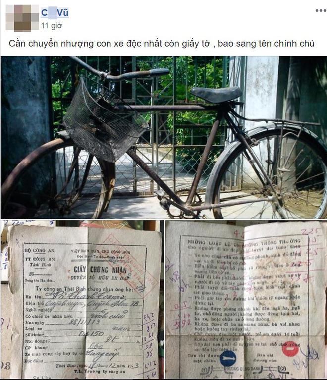 Chiếc xe đạp cổ độc nhất còn giấy chính chủ khiến dân mạng xôn xao bàn tán - ảnh 1