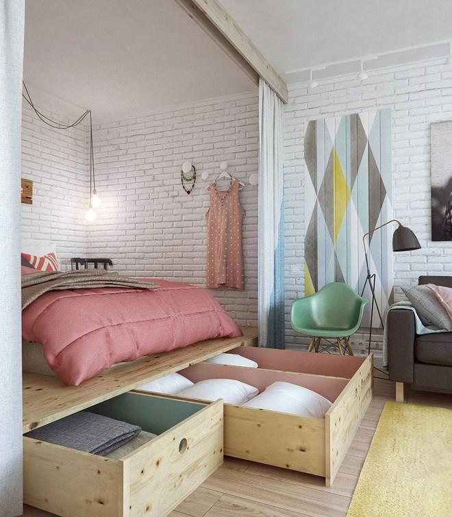 Phòng ngủ nhỏ rộng thênh thang với 8 kiểu giường lưu trữ siêu hoàn hảo dưới đây - Ảnh 2.