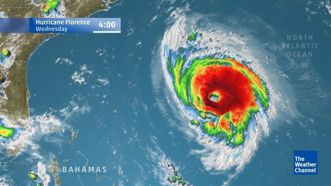 Hình ảnh cơn bão Florence trên vệ tinh. Nguồn: The Weather Channel