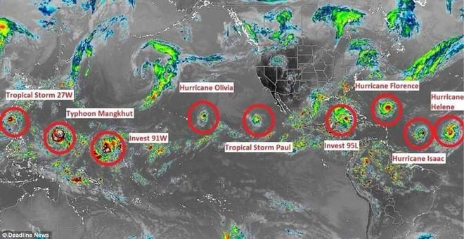 9 cơn bão cùng hoành hành Trái Đất: Siêu bão mạnh nhất có nguy cơ ảnh hưởng tới Việt Nam - Ảnh 1.