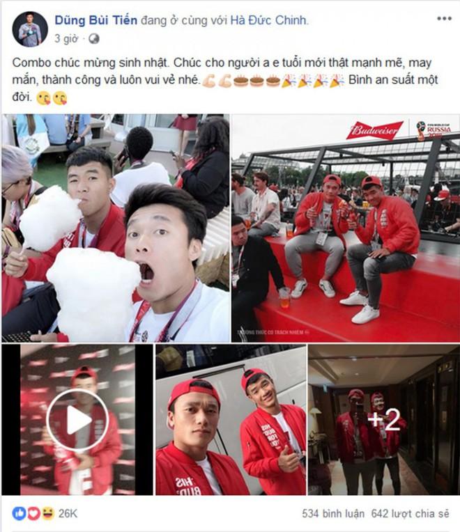 """Tiến Dũng đăng cả seri ảnh tình tứ chúc mừng sinh nhật Đức Chinh, fan lại quyết """"đẩy thuyền Dũng"""