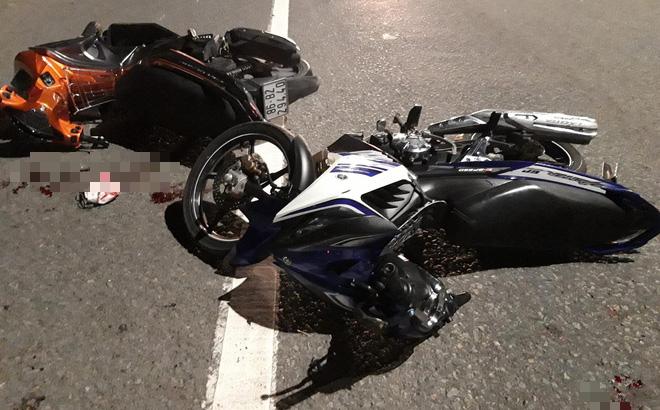 3 xe máy tông nhau liên hoàn trong đêm, 4 nạn nhân ngã trên đường