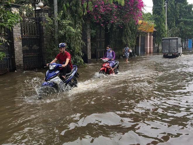 Trời không mưa, người dân vẫn bì bõm lội nước - Ảnh 2.