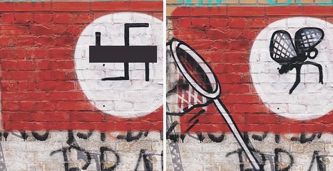 Ảnh: Biến biểu tượng phát xít Đức thành hình vẽ hài hước và sáng tạo - Ảnh 4.