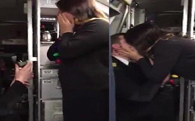 'Rụng tim' trước màn cầu hôn của chàng phi công nhút nhát ngay trên máy bay