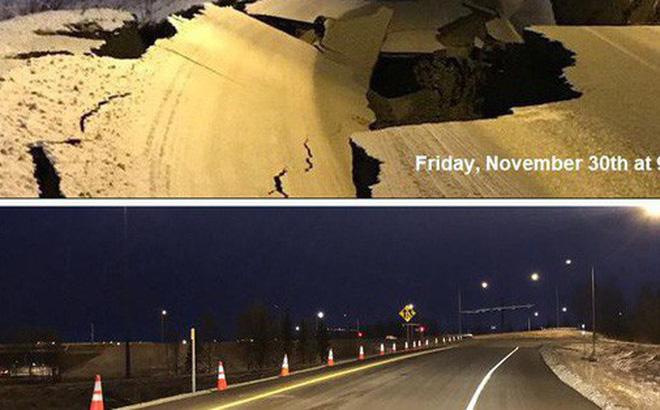 Mỹ: Đường sập tan nát do động đất, lấp lại như mới trong 4 ngày