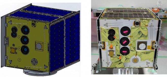 Mô hình vệ tinh MicroDragon và vệ tinh MicroDragon sau khi được tích hợp xong và sẵn sàng cho thử nghiệm trước khi bay. (Ảnh: VNSC)