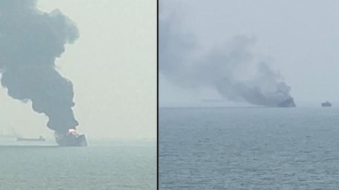 Cận cảnh tàu chở dầu treo cờ Việt Nam sau khi cháy ngùn ngụt ngoài khơi Hong Kong - Ảnh 1.