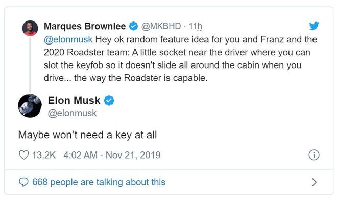 Elon Musk: Siêu xe điện của Tesla không cần chìa khóa luôn - Ảnh 2.