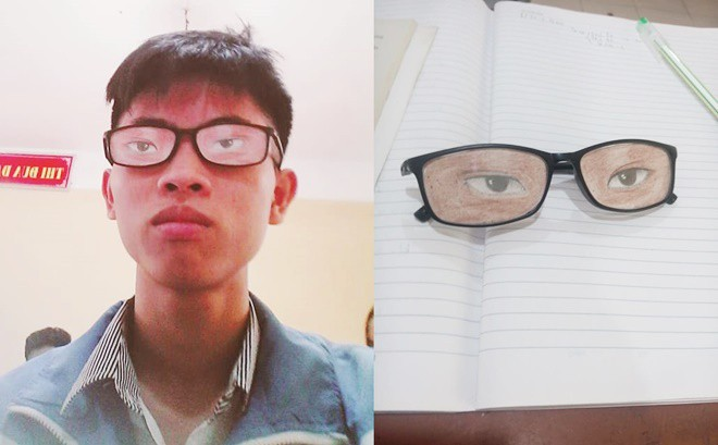 Nam sinh chăm chú nhìn lên bảng và đôi mắt kính che giấu toàn bộ sự thật