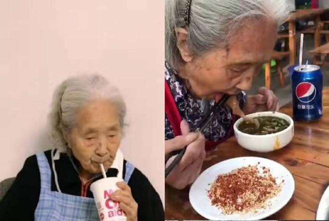 Bà lão vui vẻ tận hưởng những món ăn yêu thích. Ảnh: China Daily