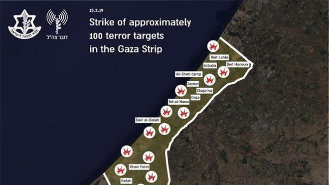 Vì 2 quả tên lửa tự chế, Israel không kích vào 100 mục tiêu trên dải Gaza - ảnh 1