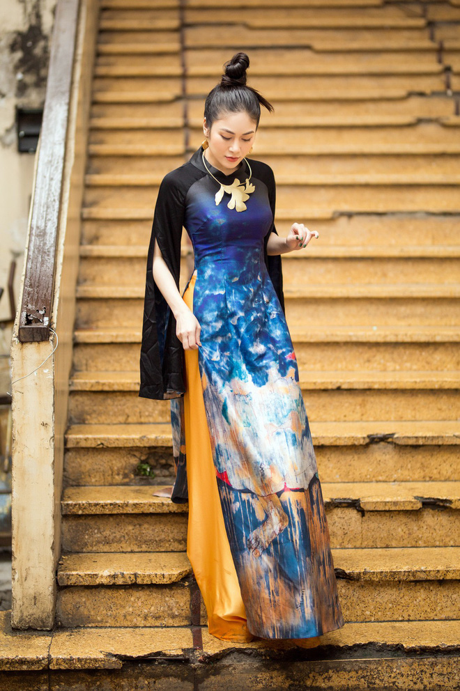Hoa hậu Tuyết Nga thu hút sự chú ý khi diện áo dài xuống phố - Ảnh 6.
