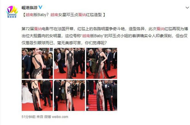 Phản ứng bất ngờ của dân mạng xứ Trung trước trang phục kiệm vải của Ngọc Trinh tại Cannes - Ảnh 6.