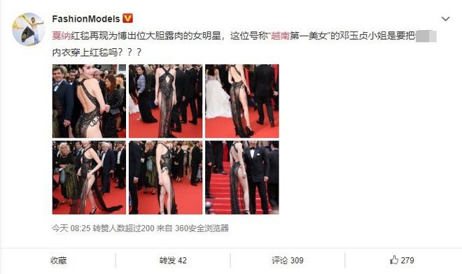Phản ứng bất ngờ của dân mạng xứ Trung trước trang phục kiệm vải của Ngọc Trinh tại Cannes - Ảnh 1.