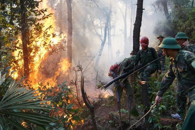 Cháy rừng ở Hà Tĩnh: Đổ cát, tưới nước lên nắp bể xăng hàng chục nghìn lít tránh cháy nổ - Ảnh 2.