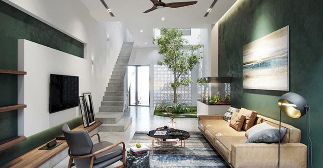 Nhà đẹp với giếng trời và nội thất ngập tràn sắc xanh - Ảnh 1.