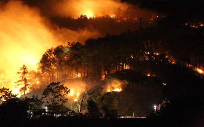 Rừng thông bùng cháy trở lại trong đêm, hàng trăm người dân hô hào lên rừng dập lửa