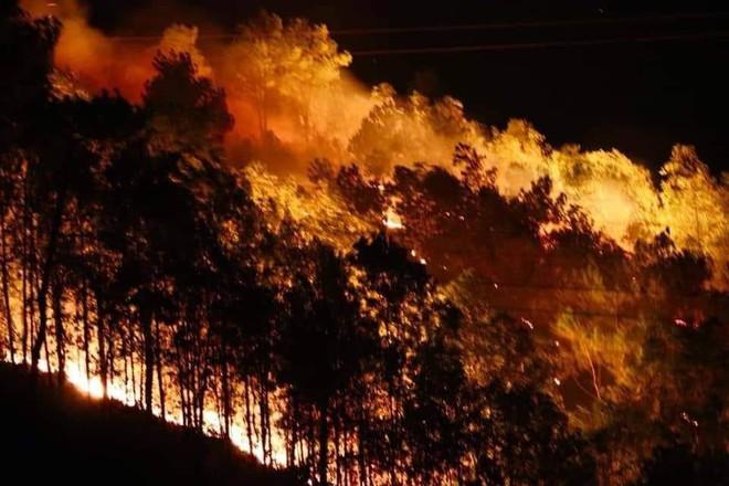 Rừng thông bùng cháy trở lại trong đêm, hàng trăm người dân hô hào lên rừng dập lửa - Ảnh 1.