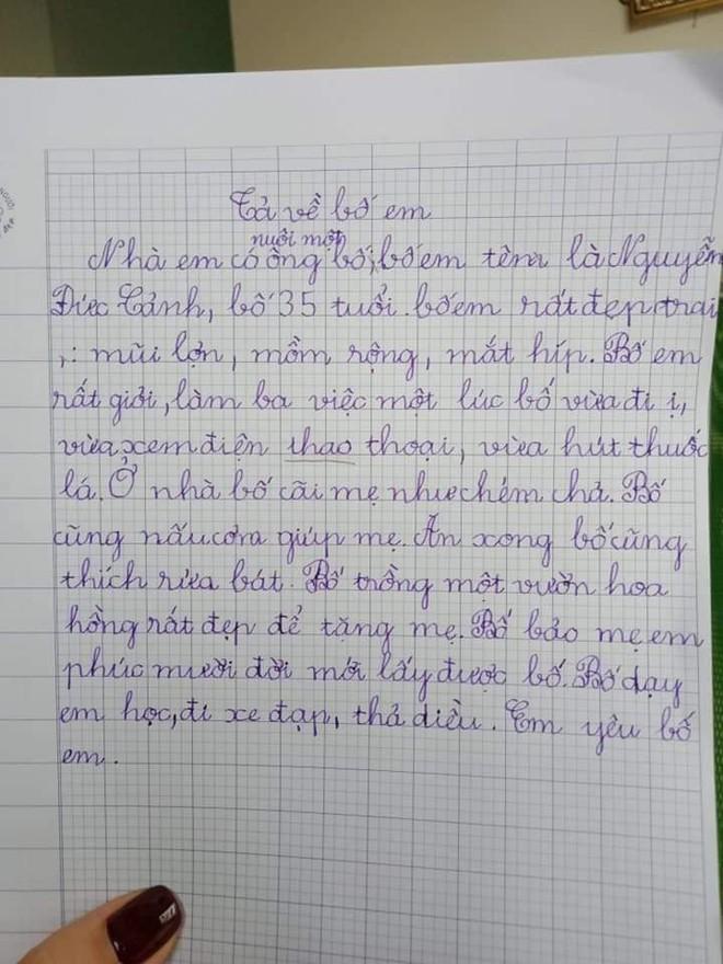Bài văn của cô bé tiểu học: Nhà có nuôi một ông bố mồm rộng, mắt híp, cãi mẹ như chém chả - Ảnh 2.