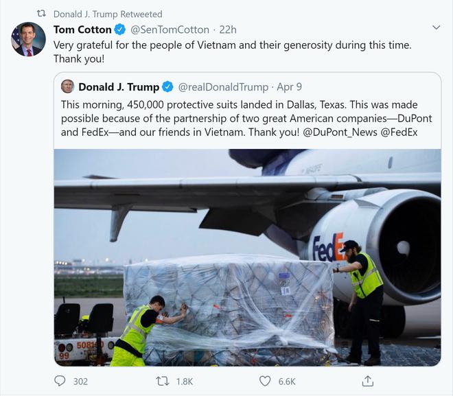 Lô hàng 450.000 bộ đồ bảo hộ: TT Trump chia sẻ dòng tweet biết ơn người dân Việt Nam của đồng minh thân cận - Ảnh 1.