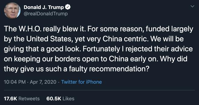 Ông Trump lên Twitter chỉ trích WHO ăn tiền Mỹ nhưng hướng về Trung Quốc và cho lời khuyên sai về COVID-19 - Ảnh 1.