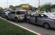 """4 """"xế hộp"""" đâm nhau trên đường Nguyễn Xiển, giải quyết 2 giờ vẫn chưa xong"""