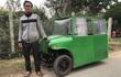 """Ông bố chế ô tô điện 3 bánh như """"xe Jeep"""" để chở con đi học đỡ mưa gió"""