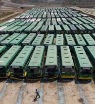 """""""Nghĩa địa"""" xe buýt tại Trung Quốc nhìn từ trên cao"""