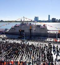 [ẢNH+VIDEO] Hải quân Mỹ biên chế chiến hạm USS Detroit