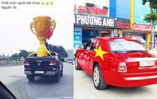 Người hâm mộ rước 'cúp vàng' khổng lồ, phủ đỏ Rolls Royce sẵn sàng đón 'bão' tối nay