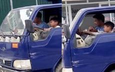 """Người chú cho bé trai điều khiển xe tải nói """"muốn dạy cháu học lái xe"""""""